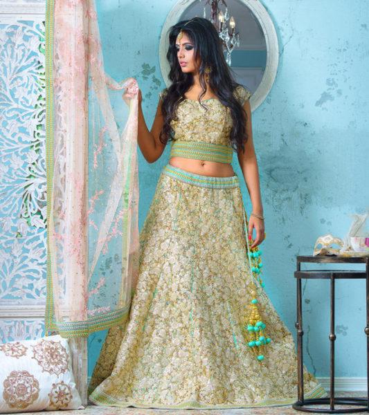 Gold Reception Bridal Lengha
